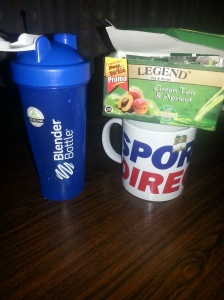 Bottle for water and Mug for Green tea